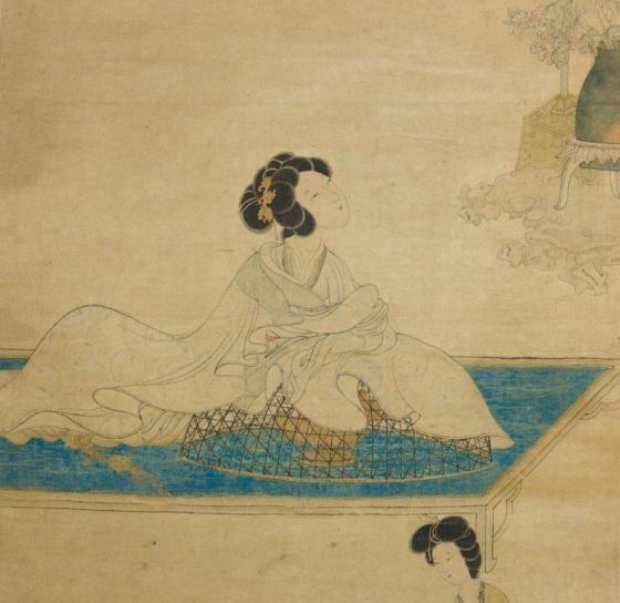 Chen Hongshou, Femme parfumant ses manches sur un brûle-parfum. Ming