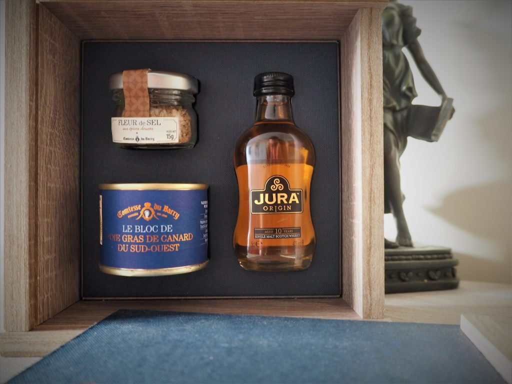 Coffret cadeau foi gras-et fleurs de sel whisky de Jura Comtesse d Barry Cadeau fete des peres