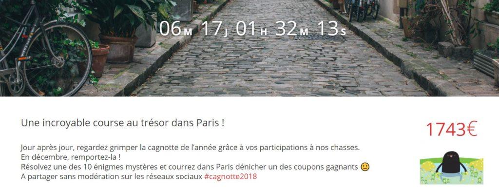 Incroyable chasse au trésor dans Paris, compteur cagnotte