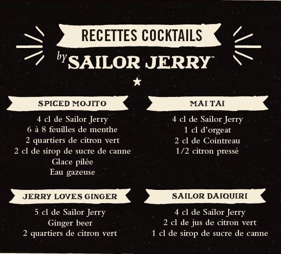 Recettes cocktails rhum Sailor Jerry