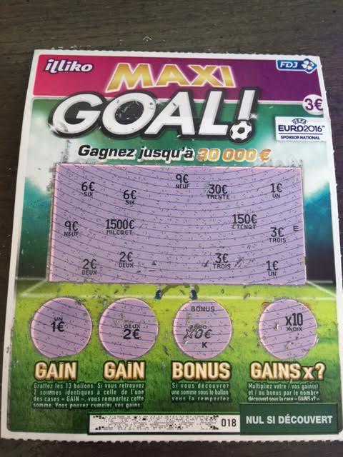 Ticket gagnant Maxi Goal