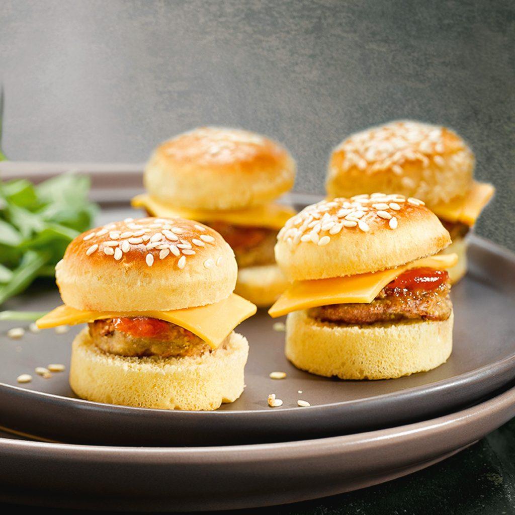 Mini cheese burger pour diner aperitif dinatoire